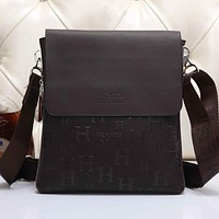 Perfect Hermes Men Leather Office Bag Satchel Shoulder Bag Crossbody