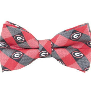 NCAA Georgia Bulldogs Mens Woven Polyester Bow Tie Red And Black