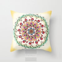 Decorative Mandala Throw Pillow. Vibrant Bohemian Mandala Pillow Cover. 18 inch. Double sided Print