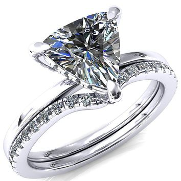 Rosy Trillion Moissanite 3 Claw Prong Single Rail 3/4 Micropave Engagement Ring