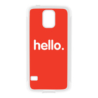 Hello White Silicon Rubber Case for Galaxy S5 by textGuy