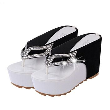 Women Platform Flip Flops Rhinestone Wedge Heel Shoes Patchwork Woman Summer Sandals S