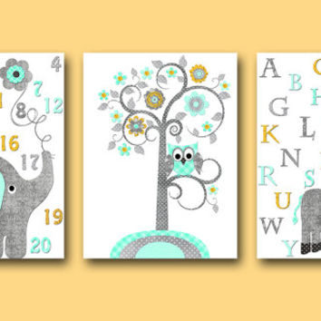 Alphabet Wall Decor Kids Wall Decor Kids Art Girl Baby Boy Nursery Wall Art Baby Nursery Print Elephant Wall Art Children Art set of 3 Gray/