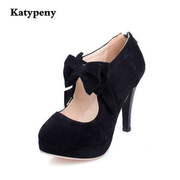 size30-47Women's round toe shoes woman's high-heeled shoes bowknot  fashion high-heeled shoes black red apricot  party shoes