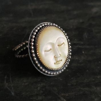 Mother of Pearl Moon Face Adjustable Ring in Sterling Silver
