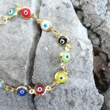 Evil eye bracelet multicolor christmas gifts best friend birthday arabic istanbul turkish jewelry mother present present for girls