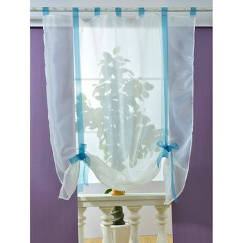 Contrast Bow Tie Sheer Mesh Curtain 1pc