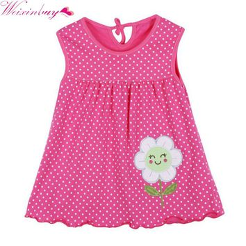New Fashions Summer Cute Infant Baby Girl Dress Sleeveless Flowers Printed A-Line One Piece Mini Dress 1-2Y M1