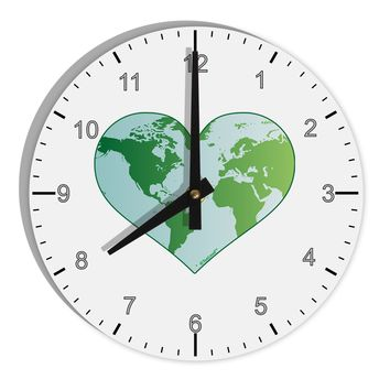 "World Globe Heart 8"" Round Wall Clock with Numbers"