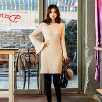 Virtical Corduroy Waist Banded Knit Dress