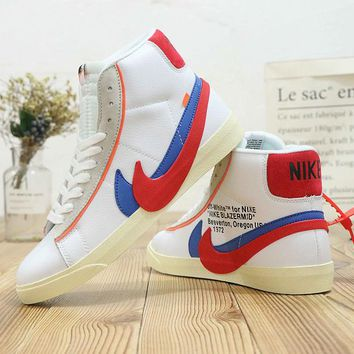 HCXX N482 Nike Zoom Blazer Mid Off White Two Logo Leather Fashion Casual Skate Shoes