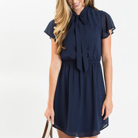 Marlene Navy Flutter Sleeve Bow Dress