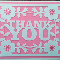 NEW!!  Handmade Pink Wedding, Bridal and/or Baby Shower Thank You Card w/envelope