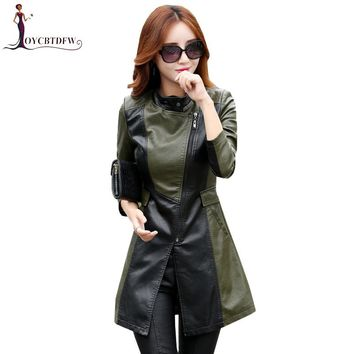 Large size M-5XL sheepskin Genuine Leather jacket women mediun long coat slim stand collar fashion female leather jacket xy326