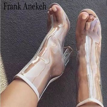 Frank Anekeh Mujer Sexy PVC Transparent Gladiator Sandals Peep Toe Shoes Clear Chunky Heels Sandals Women Boots High Heel 11CM