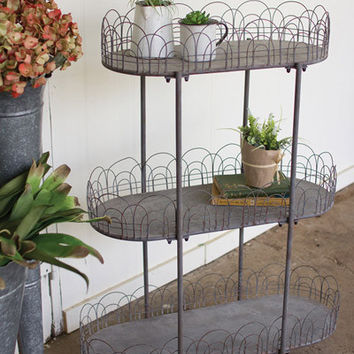 Three Tiered Metal Shelving Unit with Wire Detail