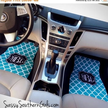 ON SALE NOW - 20% off Quatrefoil Pattern Monogrammed Car Mats, New Driver Gift, Cute Car Accessories, Monogrammed Gift, Monogram Car Floor M