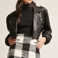Boucle Knit Plaid Mini Skirt