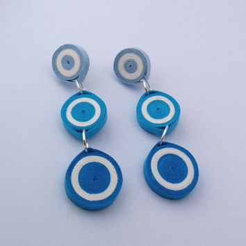 Blue paper quilled earrings, circle earrings, blue paper earrings, blue earrings