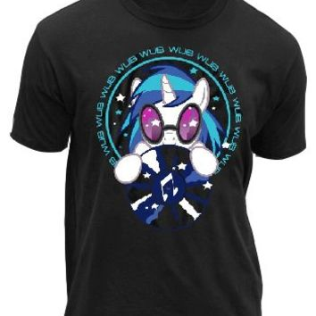 My Little Pony Wub To Wub You DJ Pon-3 Adult Black T-Shirt