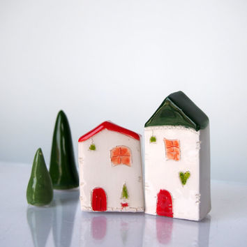 Red and Green Christmas Little House Village ceramic pottery miniature little clay house Handmade Ceramic Houses, Christmas Home Decor