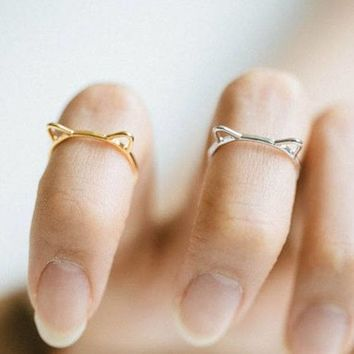 Cut Cat Ear Ring - Gold and Silver