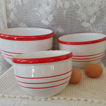 Country Kitchen Mixing Bowls Rustic French Farmhouse Red Striped Stoneware Shabby Cottage Shelf Decor