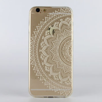 White Mandala iPhone 6 case painted transparent silicon iPhone case - TSW6002