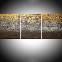 """ARTFINDER: """"Metallic Mystery 2"""" triptych 3 panel wall art colorful neutral metallic gold creamimages effect 3 panel wall abstract canvas abstraction extra large 72 x 36"""" by Stuart Wright - """"Metallic Mystery 2""""   in cream gold and brown,..."""