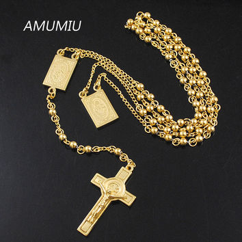 AMUMIU 4mm Mens Chain Gold/Silver Stainless Steel Bead Chain Rosary Jesus Christ Cross Pendant Long Necklace KN079