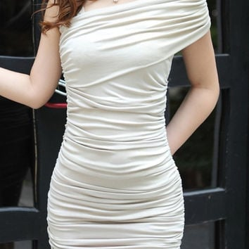 White Strapless Silk Ruffle Mini Dress Design 3040