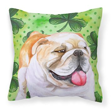 English Bulldog St Patrick's Fabric Decorative Pillow BB9813PW1818