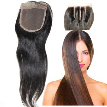 8A Brazilian Virgin 100% Human Hair Closures Straight Lace Closure 3 Way Free Part Bleached Knots