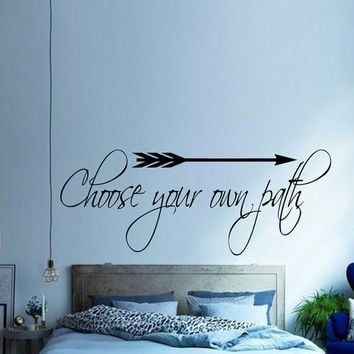 Arrow Wall Decal Quote Choose your own Path Vinyl Stickers Home Art Murals Bedroom Interior Design Inspirational Decals Bohemian Decor KI117