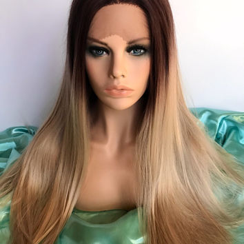 Long blonde ombre lace front synthetic wig