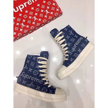 LV Louis Vuitton Supreme Rick Owens Women's Jeans Fashion High Top Sneakers Shoes