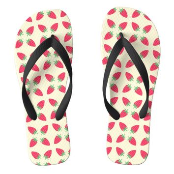 Cute Strawberry Motif design Flip Flops | Zazzle.co.uk