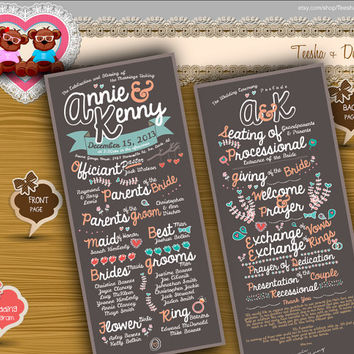 Custom Wedding Program ceremony rustic typography brown theme typographic card clipart - DIY printable file (w0070)