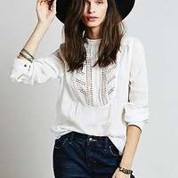 Free People Womens Connected Mock Neck Buttondown