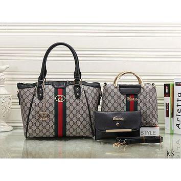Gucci Women Leather Chain Crossbody Tote Handbag Satchel Set Three Piece