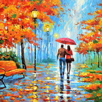 We met in park Oil on canvas painting by Dmitry Spiros, 24 x 32in, 60 x 80cm