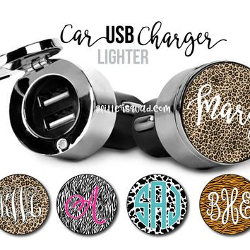 Animal Print Personalized USB Car Charger