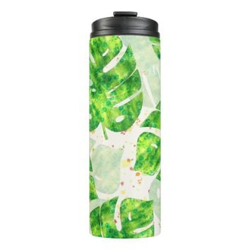 Tropical Monstera Leaves Unique Pattern Thermal Tumbler