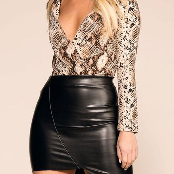 No Lies Black Pleather Asymmetrical Mini Skirt