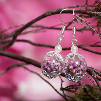 Real Heather and hand blown glass short drop earrings, eco friendly jewelry
