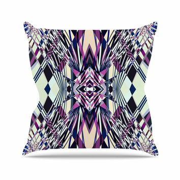 "Pia Schneider ""SWEEPING LINE PATTERN I-E4C"" Purple Geometric Outdoor Throw Pillow"