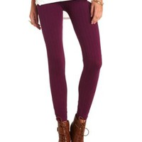 Seamless Cable Knit Leggings by Charlotte Russe - Violet