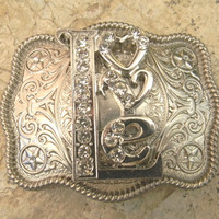 Western Rhinestone Love Custom Belt Buckle, Womens Etched Silver Belt Buckle,Girls Western Belt