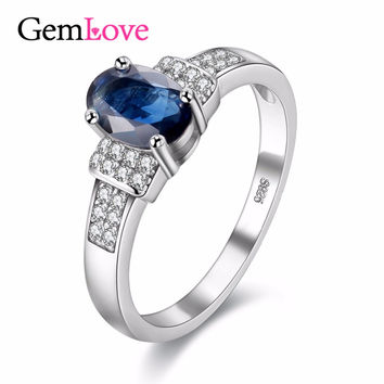Gemlove Natural Sapphire Stone New Rings for Girls 925 Sterling Silver Jewelry Gemstone Blue Wedding Ring with Box 40% FJ081