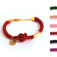 Personalized bracelet with hand stamped initial, Initial bracelet with knot, knit bracelet